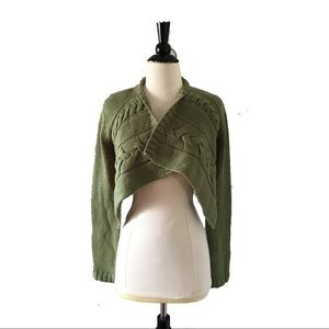 Anthropologie Wool Cable Knit Cropped Cardigan